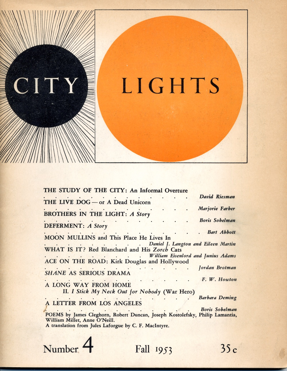 Cover of the fall 1953 issue of City Lights Magazine