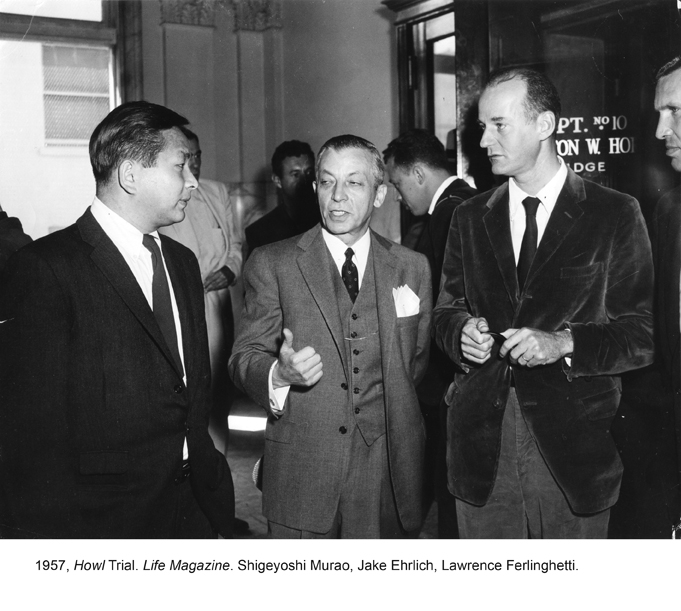 Ferlinghetti and two other men in suits, talking outside the courtroom of the Howl obscenity trial