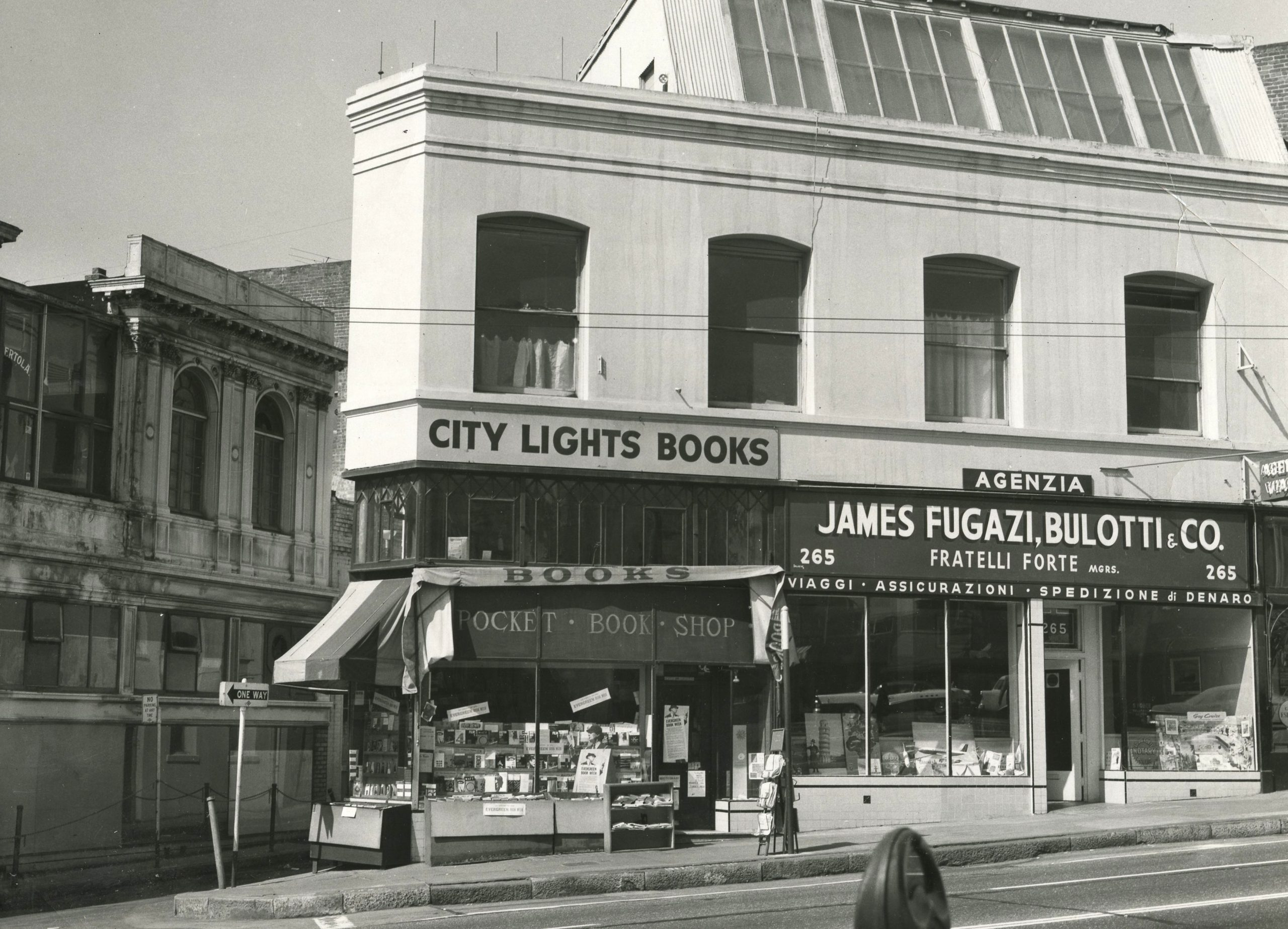 Triangle City Lights storefront as captured from across the street, circa 1950