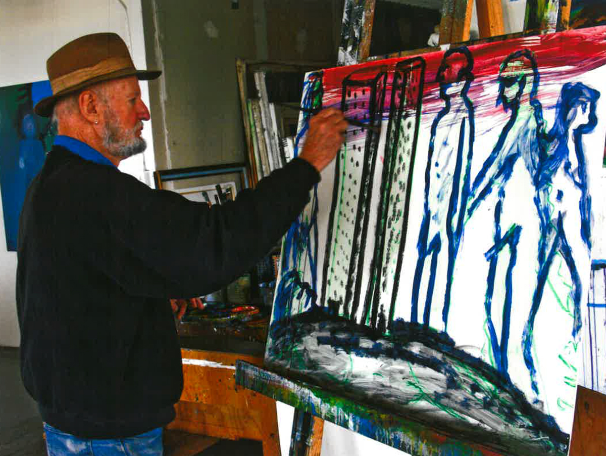 Ferlinghetti in his art studio, painting on a canvas