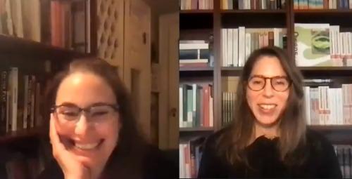 Zoom screenshot of authors Dana Spiotta and Rachel Kushner in conversation