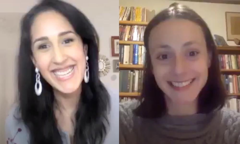 Screenshot of authors Mira Sethi and Miranda Popkey conversing over Zoom